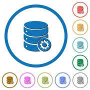 Database settings flat color vector icons with shadows in round outlines on white background - Database settings icons with shadows and outlines