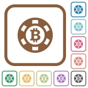 Bitcoin casino chip simple icons in color rounded square frames on white background