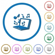 Laptop with music symbols flat color vector icons with shadows in round outlines on white background - Laptop with music symbols icons with shadows and outlines