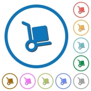 Hand truck flat color vector icons with shadows in round outlines on white background - Hand truck icons with shadows and outlines