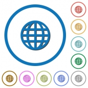 Globe flat color vector icons with shadows in round outlines on white background - Globe icons with shadows and outlines