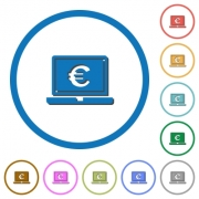 Laptop with Euro sign flat color vector icons with shadows in round outlines on white background - Laptop with Euro sign icons with shadows and outlines
