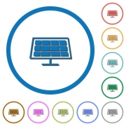 Solar panel flat color vector icons with shadows in round outlines on white background - Solar panel icons with shadows and outlines