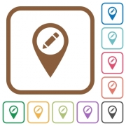 Rename GPS map location simple icons in color rounded square frames on white background - Rename GPS map location simple icons