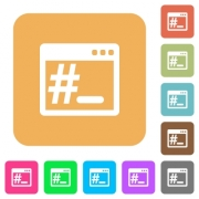 Linux root terminal flat icons on rounded square vivid color backgrounds. - Linux root terminal rounded square flat icons