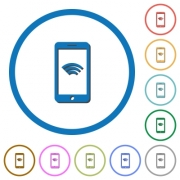 Cellphone with wireless network symbol flat color vector icons with shadows in round outlines on white background - Cellphone with wireless network symbol icons with shadows and outlines
