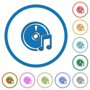 Audio CD flat color vector icons with shadows in round outlines on white background
