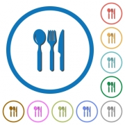 Restaurant flat color vector icons with shadows in round outlines on white background - Restaurant icons with shadows and outlines