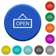 Open sign round color beveled buttons with smooth surfaces and flat white icons - Open sign beveled buttons - Large thumbnail