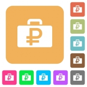 Ruble bag flat icons on rounded square vivid color backgrounds. - Ruble bag rounded square flat icons