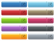 Resize element engraved style icons on long, rectangular, glossy color menu buttons. Available copyspaces for menu captions. - Resize element icons on color glossy, rectangular menu button