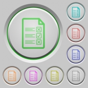 Questionnaire document color icons on sunk push buttons - Questionnaire document push buttons