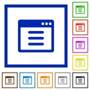 Application options flat color icons in square frames on white background - Application options flat framed icons