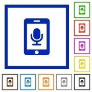 Mobile recording flat color icons in square frames on white background - Mobile recording flat framed icons
