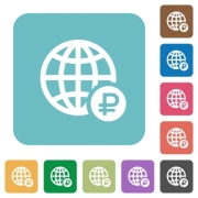 Online Ruble payment white flat icons on color rounded square backgrounds - Online Ruble payment rounded square flat icons