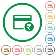 Rupee credit card flat color icons in round outlines on white background - Rupee credit card flat icons with outlines - Large thumbnail