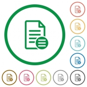 Document options flat color icons in round outlines on white background - Document options flat icons with outlines - Large thumbnail