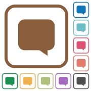 Message bubble simple icons in color rounded square frames on white background - Message bubble simple icons