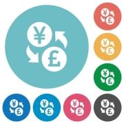 Yen Pound money exchange flat white icons on round color backgrounds - Yen Pound money exchange flat round icons