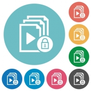 Lock playlist flat white icons on round color backgrounds - Lock playlist flat round icons