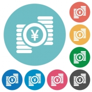 Yen coins flat white icons on round color backgrounds - Yen coins flat round icons