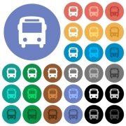 Bus multi colored flat icons on round backgrounds. Included white, light and dark icon variations for hover and active status effects, and bonus shades on black backgounds. - Bus round flat multi colored icons