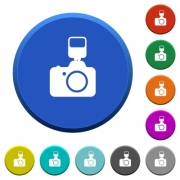 Camera with flash round color beveled buttons with smooth surfaces and flat white icons - Camera with flash beveled buttons - Large thumbnail