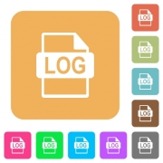 LOG file format flat icons on rounded square vivid color backgrounds. - LOG file format rounded square flat icons