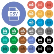 CSV file format multi colored flat icons on round backgrounds. Included white, light and dark icon variations for hover and active status effects, and bonus shades on black backgounds. - CSV file format round flat multi colored icons