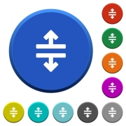 Horizontal split round color beveled buttons with smooth surfaces and flat white icons - Horizontal split beveled buttons - Large thumbnail