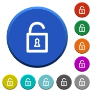 Unlocked padlock round color beveled buttons with smooth surfaces and flat white icons - Unlocked padlock beveled buttons - Large thumbnail