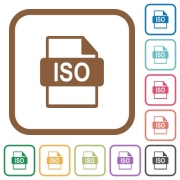 ISO file format simple icons in color rounded square frames on white background - ISO file format simple icons