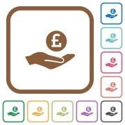 Pound earnings simple icons in color rounded square frames on white background - Pound earnings simple icons