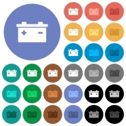 Accumulator multi colored flat icons on round backgrounds. Included white, light and dark icon variations for hover and active status effects, and bonus shades on black backgounds. - Accumulator round flat multi colored icons