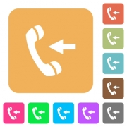 Incoming phone call flat icons on rounded square vivid color backgrounds.
