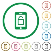 Smartphone unlock flat color icons in round outlines on white background - Smartphone unlock flat icons with outlines