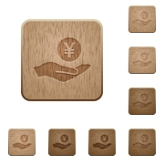 Yen earnings on rounded square carved wooden button styles - Yen earnings wooden buttons