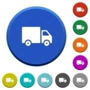 Delivery truck round color beveled buttons with smooth surfaces and flat white icons - Delivery truck beveled buttons