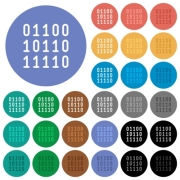 Binary code multi colored flat icons on round backgrounds. Included white, light and dark icon variations for hover and active status effects, and bonus shades on black backgounds. - Binary code round flat multi colored icons