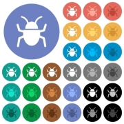 Bug multi colored flat icons on round backgrounds. Included white, light and dark icon variations for hover and active status effects, and bonus shades on black backgounds. - Bug round flat multi colored icons