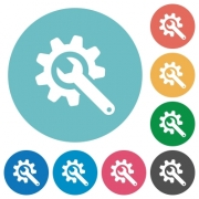 Wrench with cogwheel flat white icons on round color backgrounds - Wrench with cogwheel flat round icons