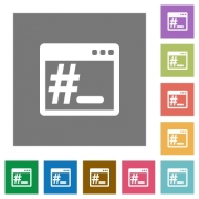 Linux root terminal flat icons on simple color square backgrounds - Linux root terminal square flat icons