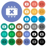 Hardware failure multi colored flat icons on round backgrounds. Included white, light and dark icon variations for hover and active status effects, and bonus shades on black backgounds. - Hardware failure round flat multi colored icons