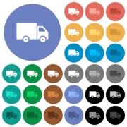 Delivery truck multi colored flat icons on round backgrounds. Included white, light and dark icon variations for hover and active status effects, and bonus shades on black backgounds. - Delivery truck round flat multi colored icons
