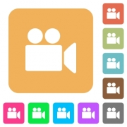 Video camera flat icons on rounded square vivid color backgrounds. - Video camera rounded square flat icons