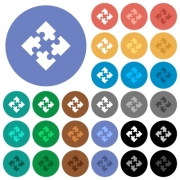 Modules multi colored flat icons on round backgrounds. Included white, light and dark icon variations for hover and active status effects, and bonus shades on black backgounds. - Modules round flat multi colored icons