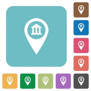 Bank office GPS map location white flat icons on color rounded square backgrounds - Bank office GPS map location rounded square flat icons