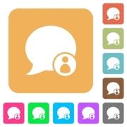 Blog comment sender flat icons on rounded square vivid color backgrounds. - Blog comment sender rounded square flat icons