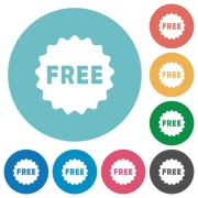 Free sticker flat white icons on round color backgrounds - Free sticker flat round icons