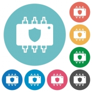 Hardware protection flat white icons on round color backgrounds - Hardware protection flat round icons